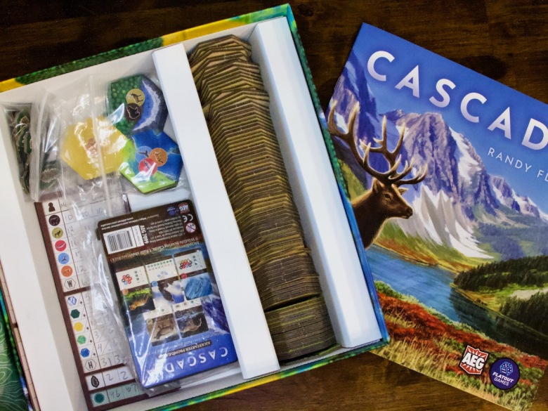 Functional insert holding the tiles and most other components for Cascadia Board Game by AEG and Flatout