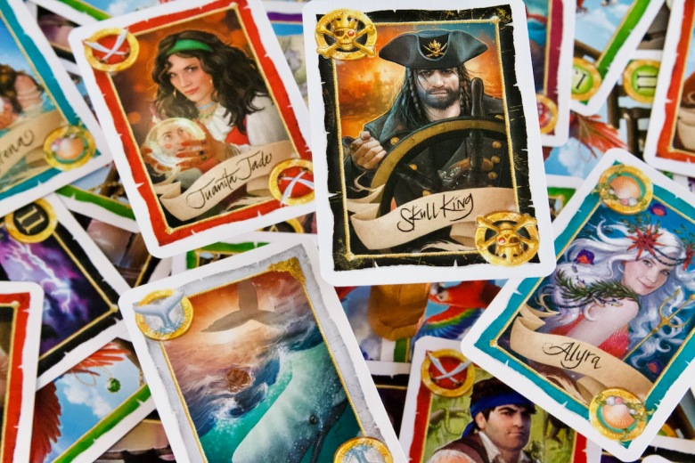 Trick taking at its finest with the white whale, the kraken, mermaids, pirates, and more all featured in this card game. Skull King by Grandpa Beck's Games