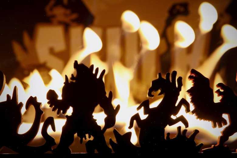 The guardians in Skulk Hollow are all fired up about what the Foxen Heroes have done to their home and they are ready to fight back by Pencil First Games; flames and silhouette