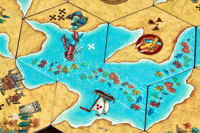 Land vs. Sea by Good Games Publishing, placed tiles featuring a ship, lobster, treasure and knights