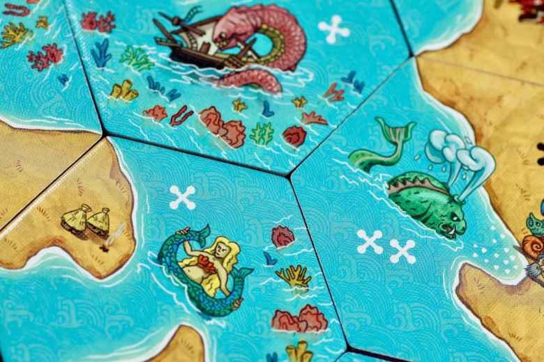 Tile placement game featuring mermaid, coral, and sea monsters - Land vs. Sea by Good Games Publishing